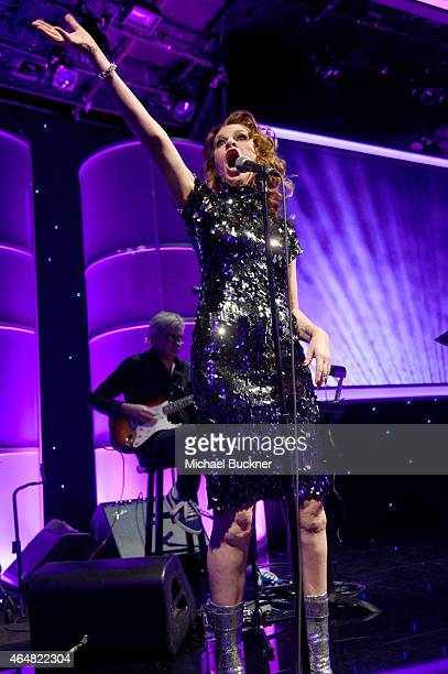 Host Sandra Bernhard speaks onstage during the Family Equality Council's 2015 Los Angeles Awards dinner at The Beverly Hilton Hotel on February 28...
