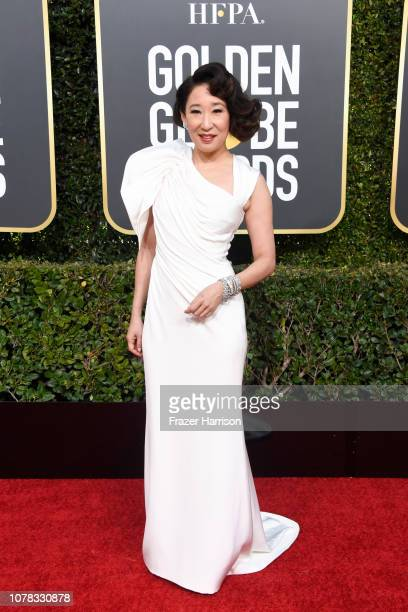Host Sandra Oh attends the 76th Annual Golden Globe Awards at The Beverly Hilton Hotel on January 6 2019 in Beverly Hills California