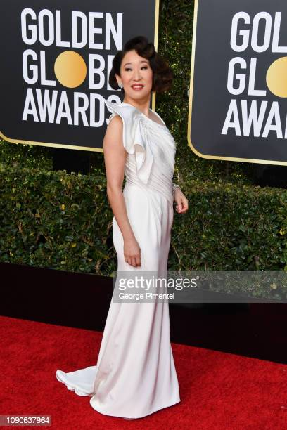 Host Sandra Oh attends the 76th Annual Golden Globe Awards held at The Beverly Hilton Hotel on January 06 2019 in Beverly Hills California