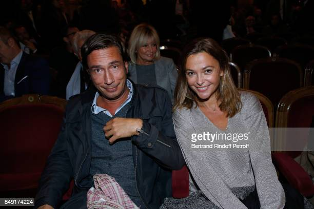 Host Sandrine Quetier and guest attend La vraie vie Theater Play at Theatre Edouard VII on September 18 2017 in Paris France