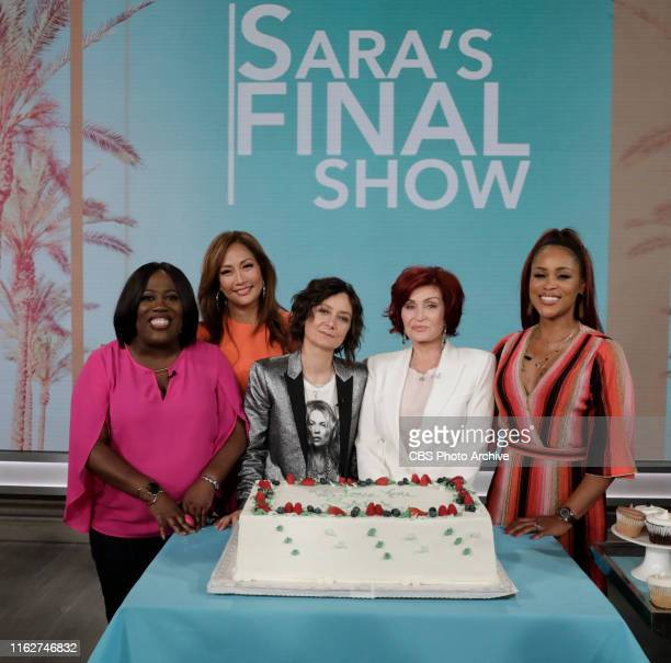 Host Sara Gilbert celebrates her last day on The Talk Friday August 2 2019 on the CBS Television Network Sheryl Underwood Carrie Ann Inaba Sharon...