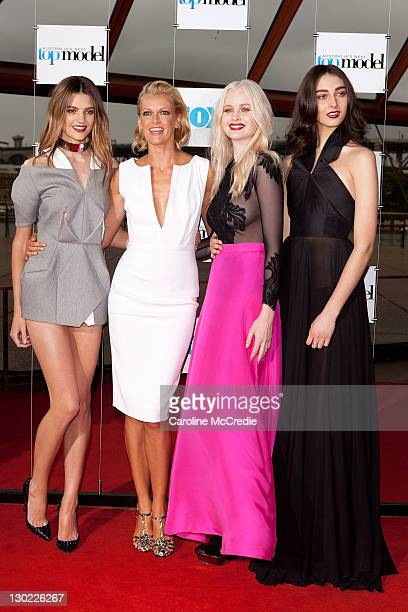 Host Sarah Murdoch with finalists Montana Cox Liz Braithwaite and Simone Holtznagel at the Australia's Next Top Model Season 7 live finale at the...