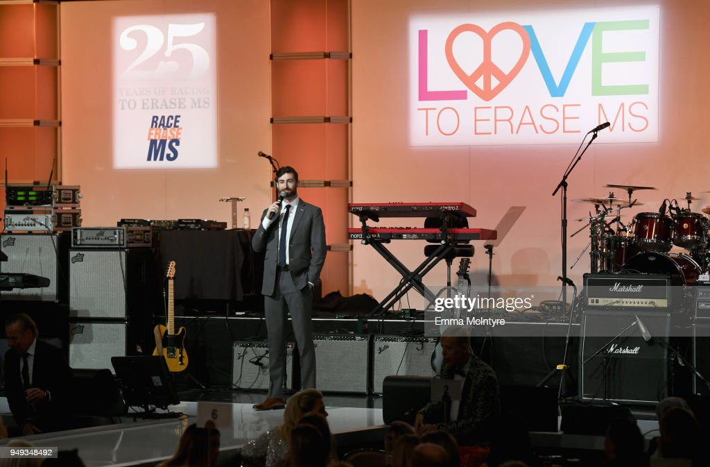 Host Scott Rogowsky speaks onstage at the 25th Annual Race To Erase MS Gala at The Beverly Hilton Hotel on April 20, 2018 in Beverly Hills, California.