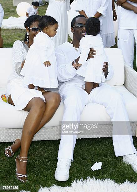 Host Sean Diddy Combs and Kim Porter with their twin daughters D'Lila Star Combs and Jessie James Combs pictured at The Real White Party presented by...