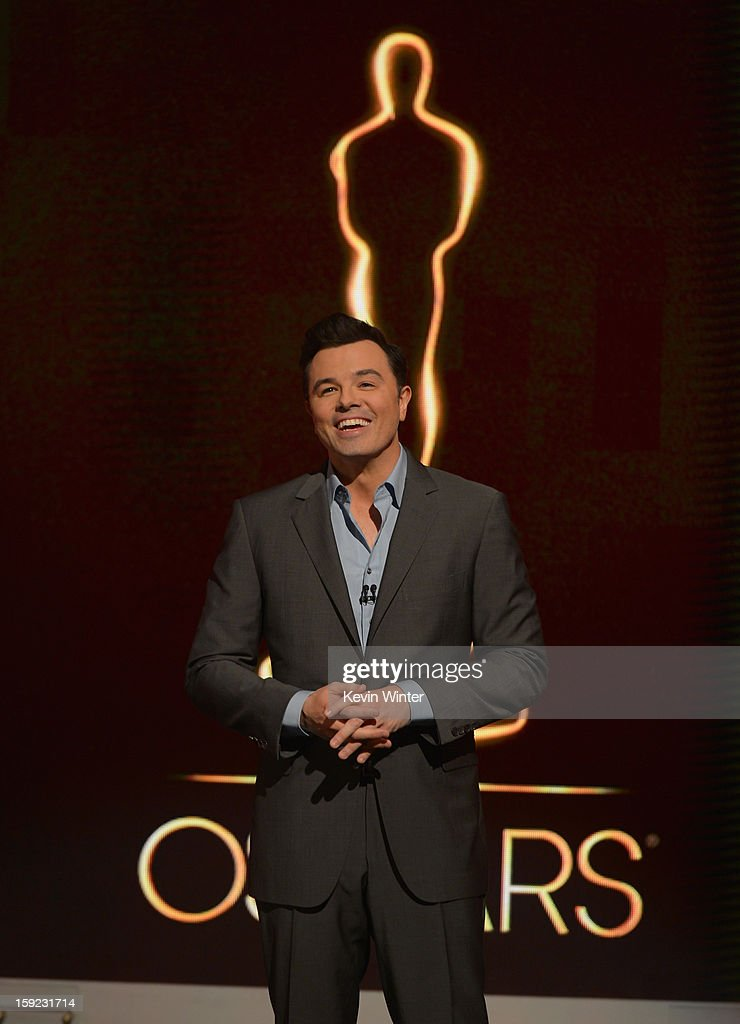 Host Seth MacFarlane announces the nominees at the 85th Academy Awards Nominations Announcement at the AMPAS Samuel Goldwyn Theater on January 10, 2013 in Beverly Hills, California.