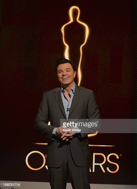 Host Seth MacFarlane announces the nominees at the 85th Academy Awards Nominations Announcement at the AMPAS Samuel Goldwyn Theater on January 10...