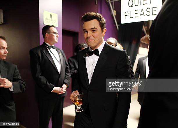 Host Seth MacFarlane backstage during the Oscars held at the Dolby Theatre on February 24 2013 in Hollywood California