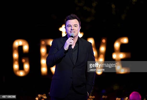 Host Seth MacFarlane speaks onstage during The Grove Christmas with Seth MacFarlane at The Grove on November 14 2015 in Los Angeles California