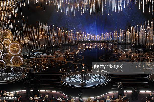 Host Seth MacFarlane speaks onstage during the Oscars held at the Dolby Theatre on February 24, 2013 in Hollywood, California.