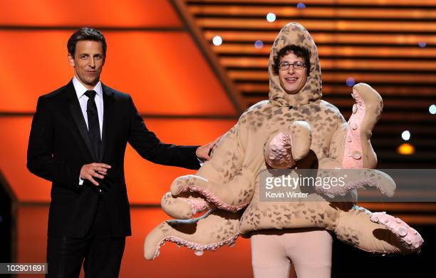 Host Seth Meyers and actor Andy Samberg onstage during the 2010 ESPY Awards at Nokia Theatre LA Live on July 14 2010 in Los Angeles California