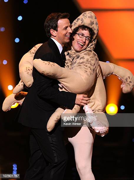 Host Seth Meyers and actor Andy Samberg perform onstage during the 2010 ESPY Awards at Nokia Theatre LA Live on July 14 2010 in Los Angeles California