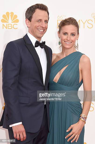 Host Seth Meyers and Alexi Ashe attend the 66th Annual Primetime Emmy Awards held at Nokia Theatre LA Live on August 25 2014 in Los Angeles California