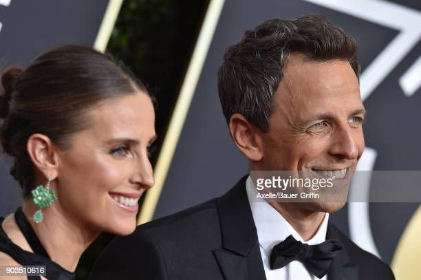 Host Seth Meyers and Alexi Ashe attend the 75th Annual Golden Globe Awards at The Beverly Hilton Hotel on January 7 2018 in Beverly Hills California