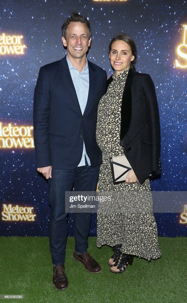 TV host Seth Meyers and wife Alexi Ashe attend the 'Meteor Shower' Broadway opening night at the Booth Theatre on November 29, 2017 in New York City.