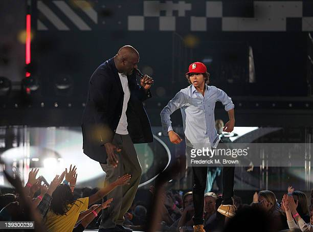 Host Shaquille O' Neal and Adam Sevani perform during the 2nd Annual Cartoon Network Hall of Game Awards at the Barker Hangar Santa Monica Airport on...