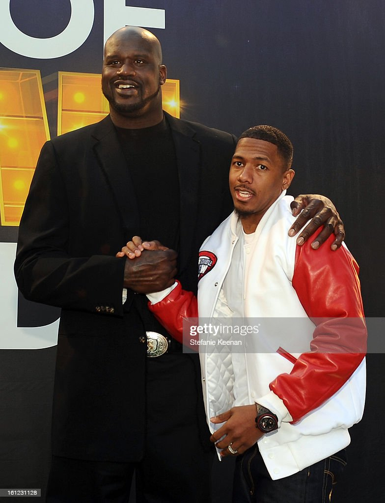 Host Shaquille O'Neal and co-host Nick Cannon attend the Third Annual Hall of Game Awards hosted by Cartoon Network at Barker Hangar on February 9, 2013 in Santa Monica, California. 23270_002_SK_1134.JPG
