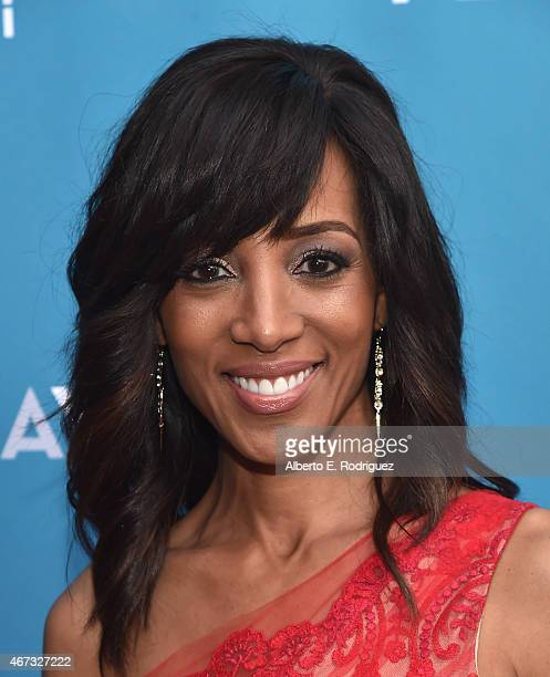 TV host Shaun Robinson attends The Geffen Playhouse's Backstage at the Geffen Gala at The Geffen Playhouse on March 22 2015 in Los Angeles California