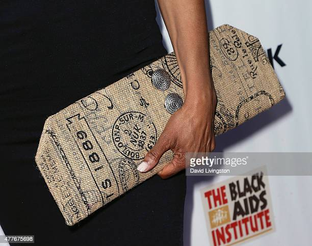 TV host Shaun Robinson purse detail attends the Black AIDS Institute 2015 Heroes in the Struggle Gala Reception and Awards Ceremony at the Directors...