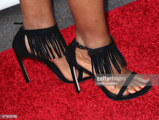 TV host Shaun Robinson shoe detail attends the Black AIDS Institute 2015 Heroes in the Struggle Gala Reception and Awards Ceremony at the Directors...
