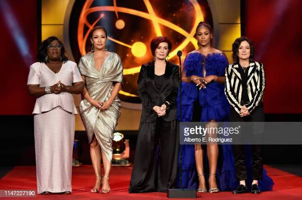 Host Sheryl Underwood Carrie Ann Inaba Sharon Osbourne Eve and Sara Gilbert speak onstage at the 46th annual Daytime Emmy Awards at Pasadena Civic...