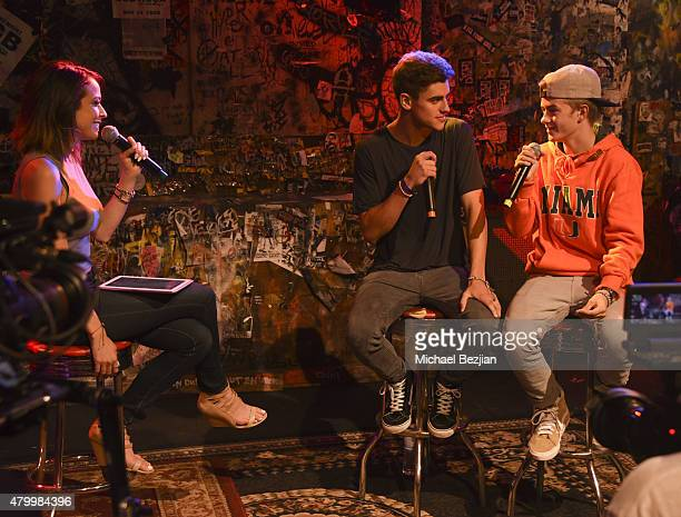 Host Shira Lazar, Jack Johnson and Jack Gilinsky of American pop-rap duo Jack & Jack attend at What's Trending Presents Their #AskArtist Series at...