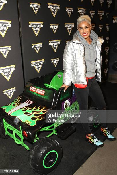 Host Sibley Scoles arrives at Monster Jam Celebrity Event at Angel Stadium on February 24 2018 in Anaheim California