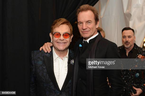 Host Sir Elton John and recording artist Sting attend the 25th Annual Elton John AIDS Foundation's Academy Awards Viewing Party at The City of West...