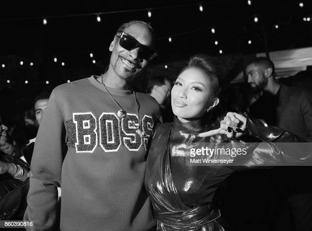 This image has been converted to black and white Host Snoop Dogg and Jeannie Mai at TBS' Drop the Mic and The Joker's Wild Premiere Party at Dream...