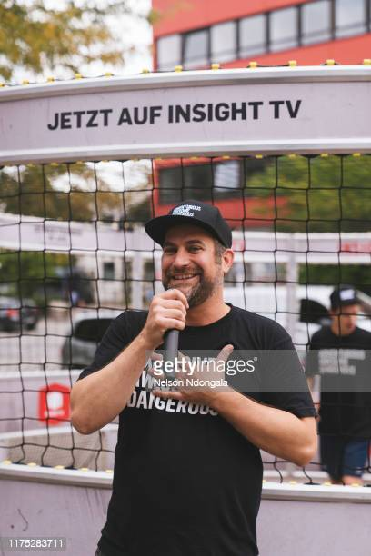 """Host speaks during the launch event for Insight TV's new show """"Streetkings in Jail"""" on September 17, 2019 in Munich, Germany."""
