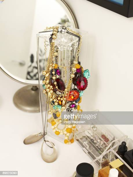 Host Stacy London of What Not To Wear jewelry and makeup table is photographed for OK Magazine on June 22 2009 in her apartment in New York City
