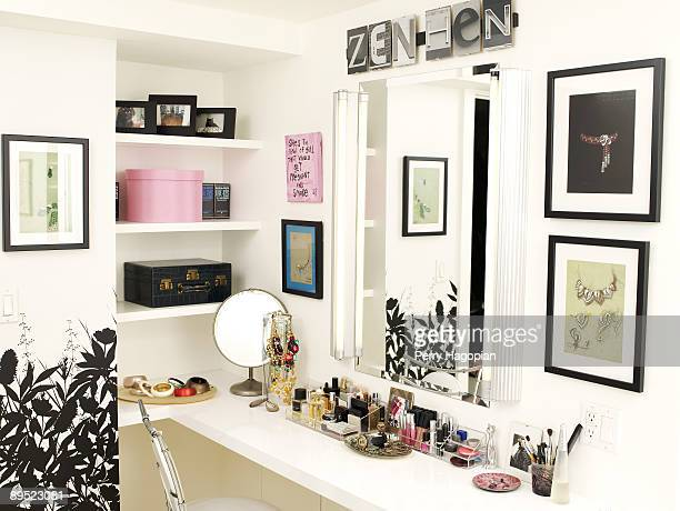 Host Stacy London of What Not To Wear makeup table is photographed for OK Magazine on June 22 2009 in her apartment in New York City