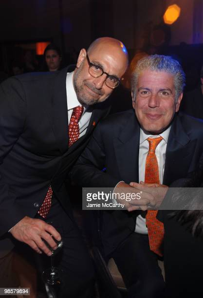 Host Stanly Tucci and Chef Anthony Bourdain attend the Food Bank for New York City's 8th Annual CanDo Awards dinner at Abigail Kirsch�s Pier Sixty at...