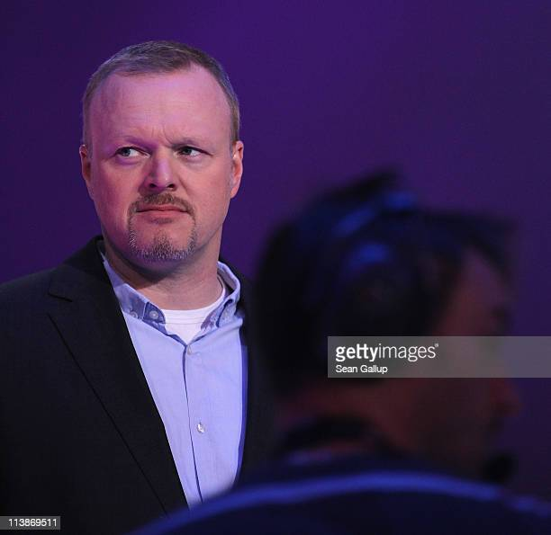 Host Stefan Raab attends a dress rehearsal the day before the first semi-finals of the Eurovision Song Contest 2011 on May 9, 2011 in Duesseldorf,...