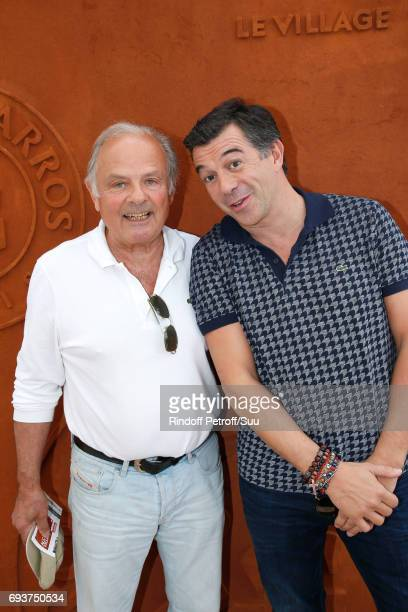 Host Stephane Plaza and his stepfather Patrick Paradon attend the 2017 French Tennis Open - Day Twelve at Roland Garros on June 8, 2017 in Paris,...