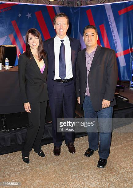 Host Stephanie Miller Lieutenant Governor of California Gavin Newsom and TV Host Cenk Uygur speak during the Current TV TCA Breakfast at The Beverly...