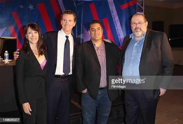 Host Stephanie Miller Lieutenant Governor of California Gavin Newsom TV Host Cenk Uygur and President of Current TV David Bohrman attend the Current...