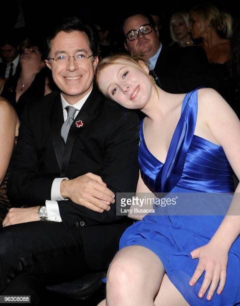 TV host Stephen Colbert and daughter in the audience during the 52nd Annual GRAMMY Awards held at Staples Center on January 31 2010 in Los Angeles...