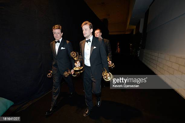 TV host Stephen Colbert and fellow writers from 'The Colbert Report' attend the Governors Ball during the 65th Annual Primetime Emmy Awards at Nokia...