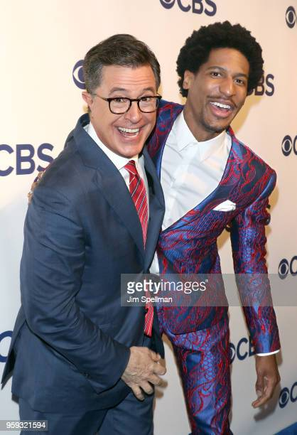 TV host Stephen Colbert and musician Jon Batiste attend the 2018 CBS Upfront at The Plaza Hotel on May 16 2018 in New York City