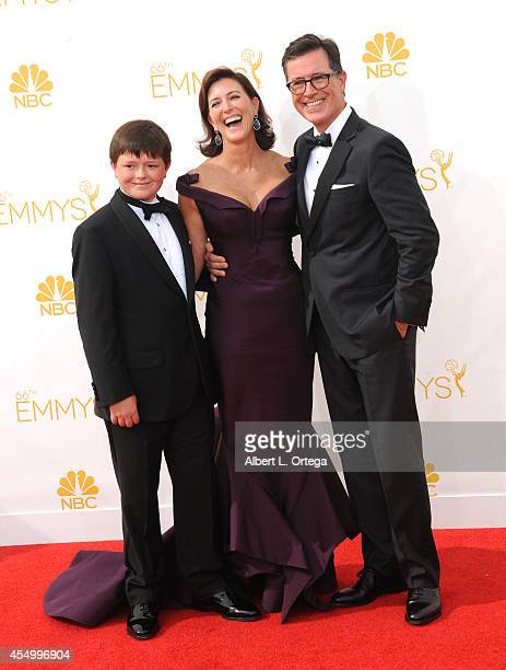 TV host Stephen Colbert and wife Evelyn McGeeColbert arrive for the 66th Annual Primetime Emmy Awards held at Nokia Theatre LA Live on August 25 2014...