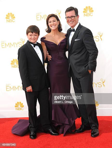 Host Stephen Colbert and wife Evelyn McGee-Colbert arrive for the 66th Annual Primetime Emmy Awards held at Nokia Theatre L.A. Live on August 25,...