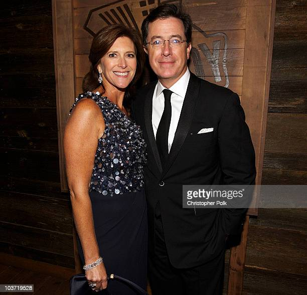 TV host Stephen Colbert and wife Evelyn McGeeColbert attend the Comedy Central Emmy Party held at The Colony on August 29 2010 in Hollywood California