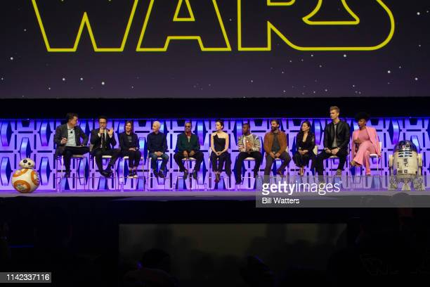 "Host Stephen Colbert, Director J.J. Abrams, Lucasfilm President Kathleen Kennedy, and cast appear at the ""Star Wars: Episode IX"" panel presentation..."