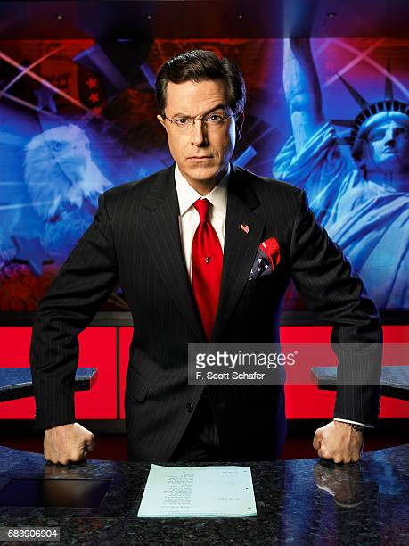 TV host Stephen Colbert is photographed for Newsweek Magazine in 2006 in New York City