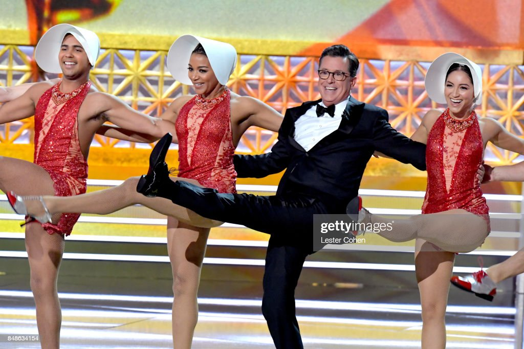 Host Stephen Colbert (2nd from R) performs onstage during the 69th Annual Primetime Emmy Awards at Microsoft Theater on September 17, 2017 in Los Angeles, California.