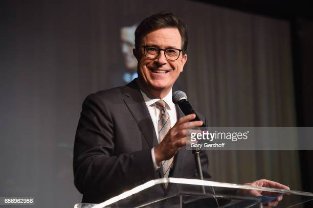 Host Stephen Colbert speaks on stage during the Elevator Repair Service Theater 25th Anniversary gala at Tribeca Rooftop on May 22, 2017 in New York...