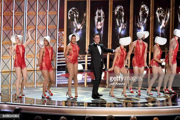 Host Stephen Colbert speaks onstage during the 69th Annual Primetime Emmy Awards at Microsoft Theater on September 17 2017 in Los Angeles California