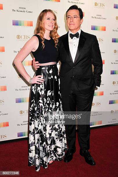 Host Stephen Colbert with his daughter Madeleine Colbert arrive at the 38th Annual Kennedy Center Honors Gala at the Kennedy Center for the...