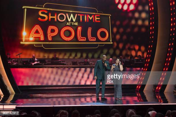 Host Steve Harvey and contestant Antionette Herring in the Week 8 episode of SHOWTIME AT THE APOLLO airing Thursday April 19 on FOX