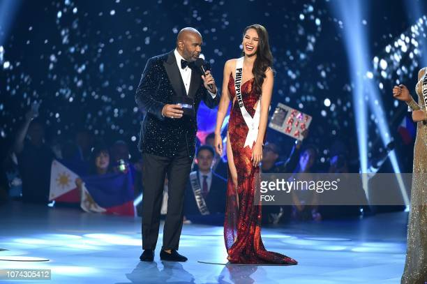 TOP 5 Host Steve Harvey and Miss Philippines Catriona Gray during the 2018 MISS UNIVERSE competition airing live from Bangkok Thailand on Sunday Dec...